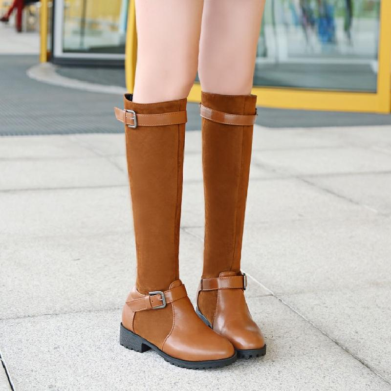 цены SALCXO winter boots women boots knee high womans black boots motorcycle boots slip-on big size 43 shoes woman free shipping &7-8
