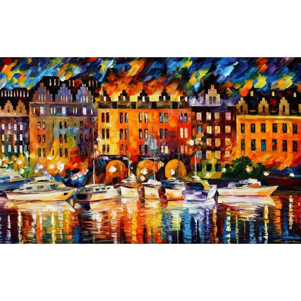 Landscape Oil painting pictures castle by the river palette knife canvas wall art modern home decor