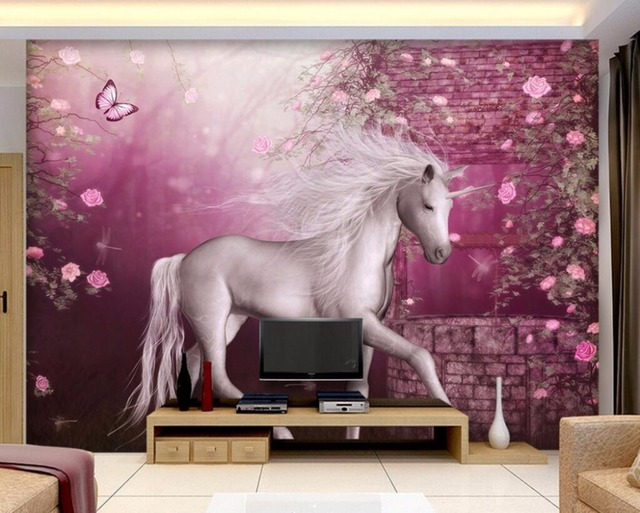 3d wallpaper custom mural unicorn flowers butterflie wall papers