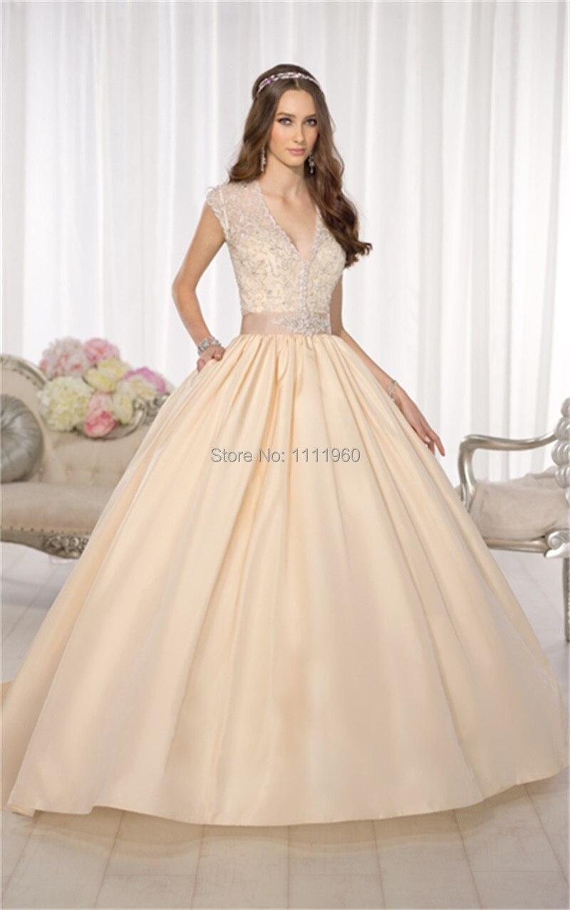 Online Shop Latest Design Sheer Back Wedding Dress Short Sleeve ...