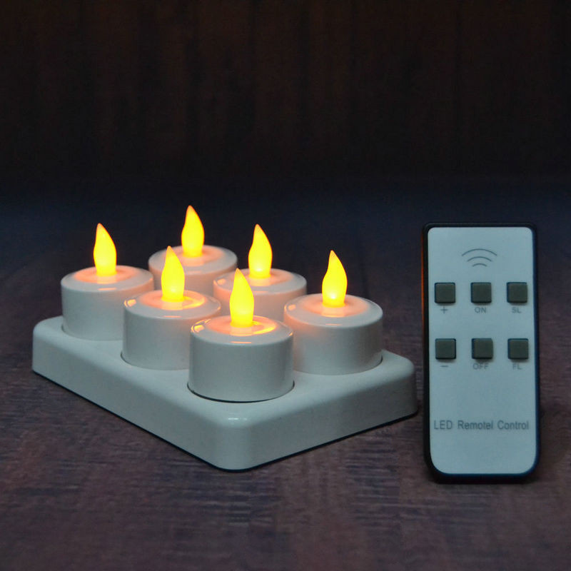 Home Intelligent Set Of 6 Led Candles W/remote Controller Flickering Frosted Rechargeable Tea Light Waxless Christmas Wedding Party Decor-amber