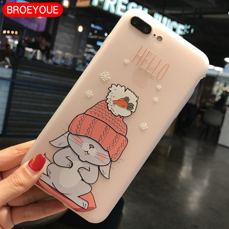 BROEYOUE Case For iPhone 5S SE 6 7 8 Case Silicone Cute Cartoon Matte TPU Soft Cover Phone Cases For iPhone X 6S 6 7 8 Plus