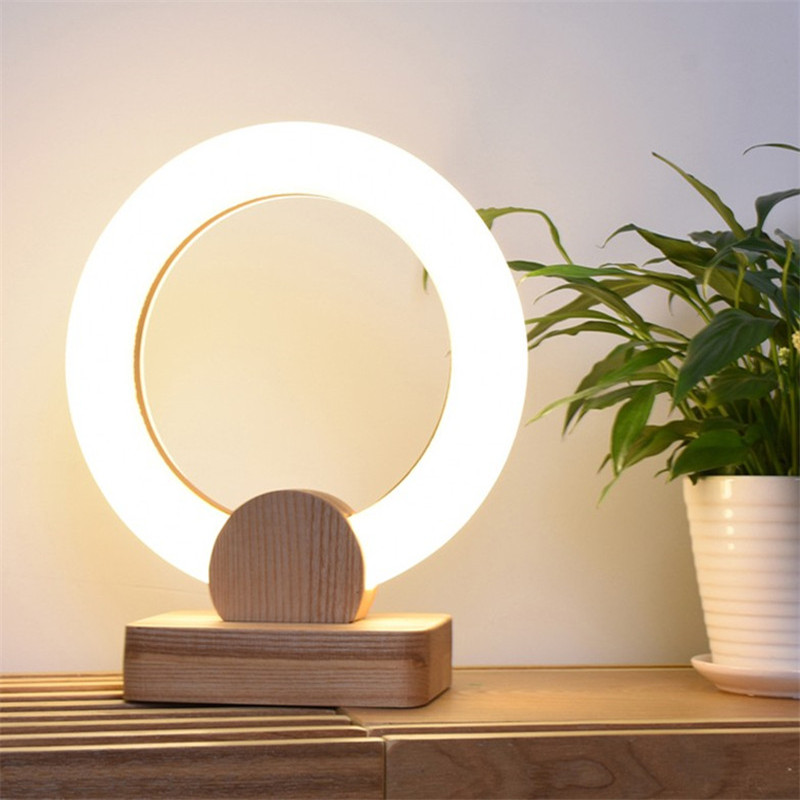 Acrylic Round Ring Led Table Lamp Warm Bedroom Study Room Desk Lamp Modern Creative Children's room Wood Lamp Fixture north european style retro minimalist modern industrial wood desk lamp bedroom study desk lamp bedside lamp