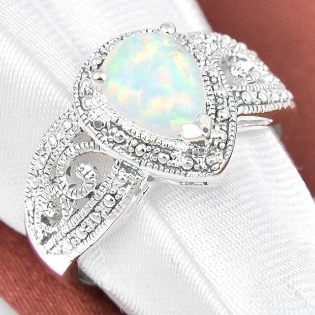 2Pcs 1 Lot Fashion Crystal White Fire Opal Wedding Jewelry Silver