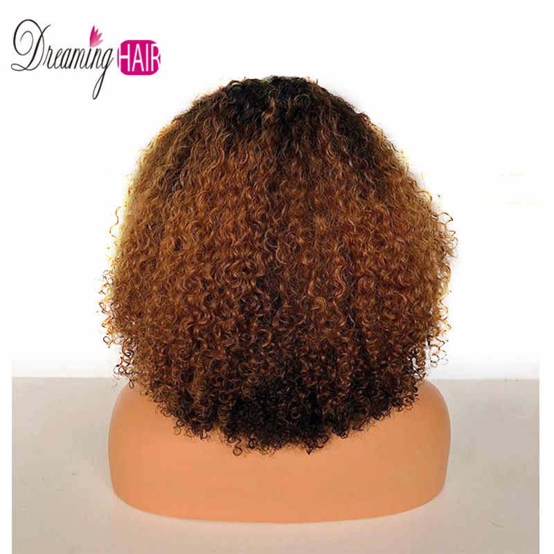 1b 30 Ombre Afro Kinky Curly Lace Front Wig With Baby Hair Brazilian Remy Short Human Hair 13x6 Part Curly Wigs With Baby Hair