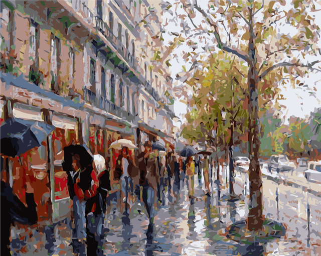 Frameless DIY Oil Paint By Number Landscape Digital Painting Rainy Street Art Wall Pictures