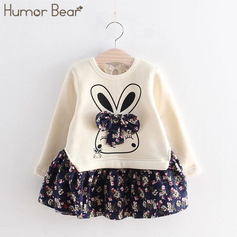 Humor Bear Girls Dress Spring Autumn Flower Princess Dress Brand Girls Clothes Children Clothing Cute Animal Style Girls Dresses