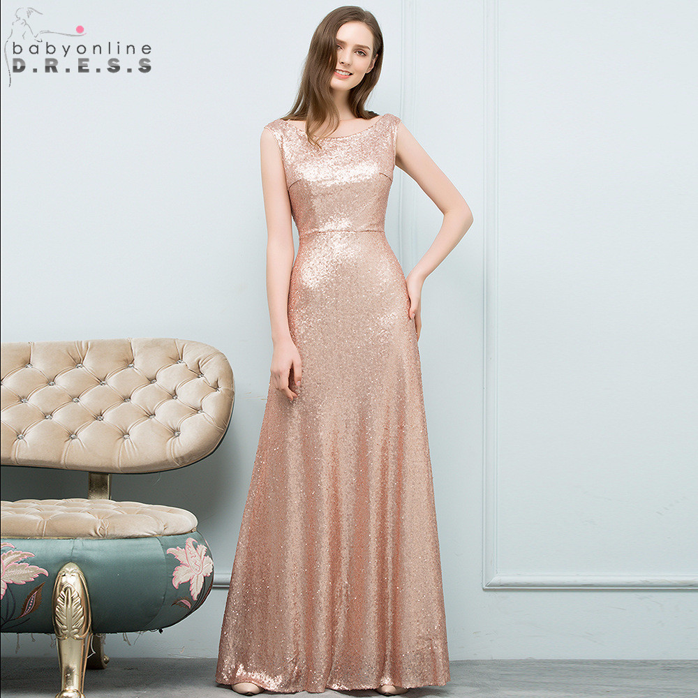 Rose Gold Reflective Dress Sexy V Back Sequin Long Evening Dress 2019 Elegant A Line Evening