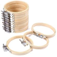 10pcs/set 8/10cm Embroidery Hoops Frame Set Bamboo Wooden Embroidery Hoop Rings for DIY Cro