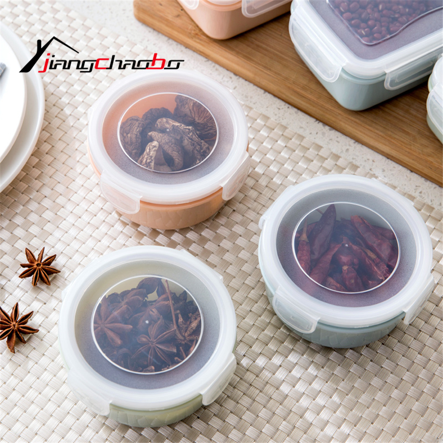 New Sealed Crisper Set Plastic Moistureproof Round shape Food Storage Box Kitchen Containers Food Storage Containers