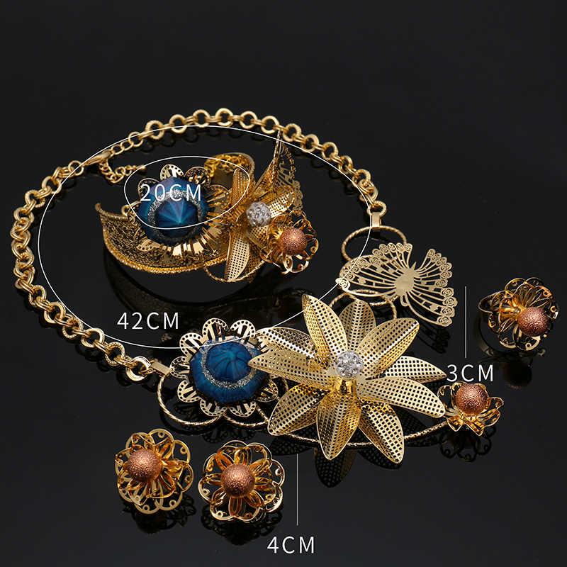 Dubai Gold Jewelry Sets Nigerian Wedding African Beads Crystal Bridal Jewellery Set 2018 Geometric Gold Color Jewelry Set