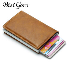BISI GORO 2019 New Crazy Horse PU Leather Card Holder Hasp Rfid Wallet Aluminum Unisex Metal Credit Busines Mini Card Wallet(China)