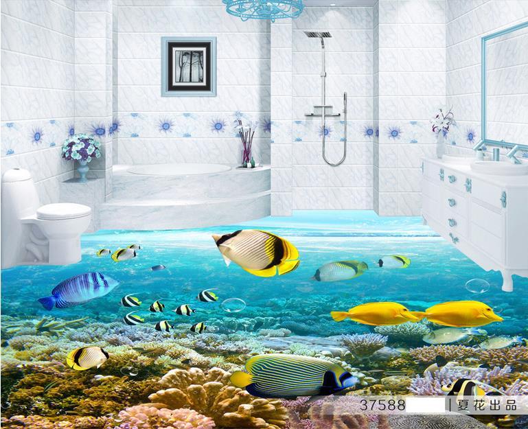 ФОТО vinyl flooring waterproof custom high quality wall paper 3d flooring wallpaper bathroom Tropical Fish wallpaper-sticker-roll