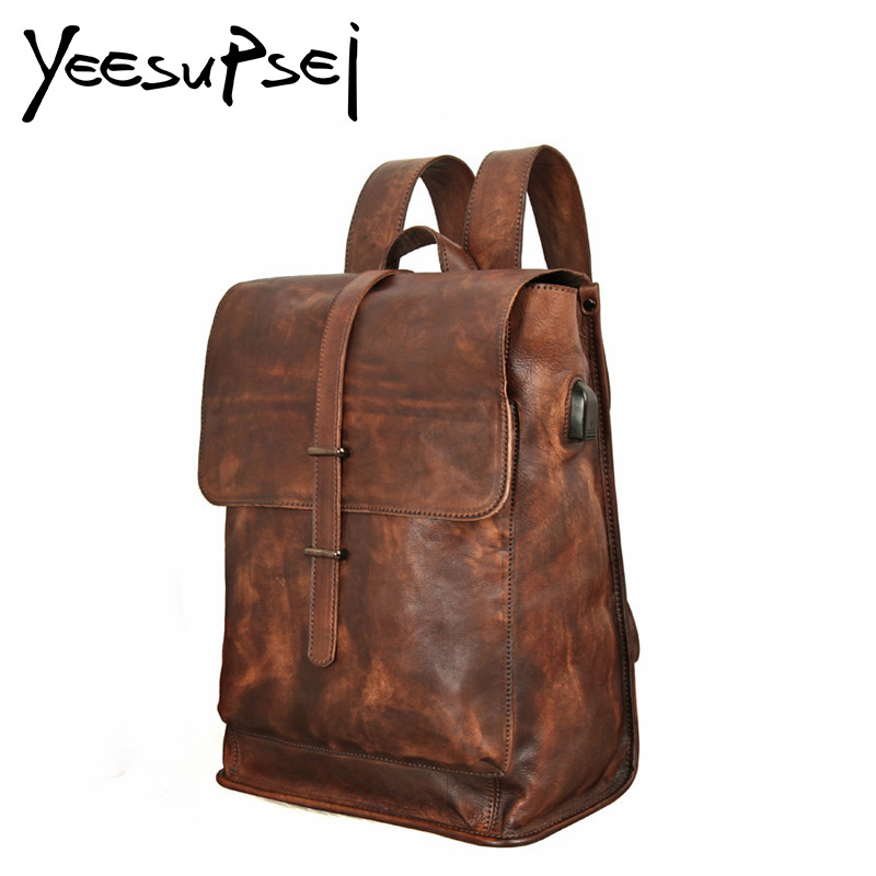 YeeSupSei Male Functional Bag Fashion Men Backpack Vintage Crazy Horse Leather Backpack Big Capacity Men Usb Extend Charging Bag