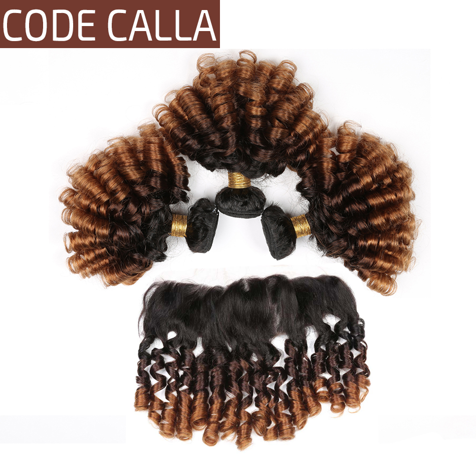 Code Calla Ombre Color Bouncy Curly Bundles With 13*4 Lace Frontal Free Part Brazilian Raw Virgin 100% Unprocessed Human Hair