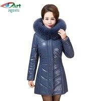 JQNZHNL Women Thicken Down Cotton Leather Coats Plus Size 6XL 2017 New Winter Coats Big Fur