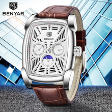 2019 Watches Men Top Brand Luxury BENYAR Hollow Fashion Sports Watch Moon Phase Male Military Wristwatches Zegarek Meski