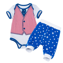 2pcs Set Baby Clothes Cute Boy and Girl Outfit for American Independence Day Romper Fashion Photo Shoot Costume