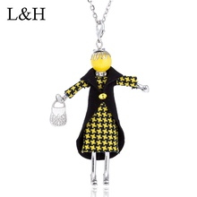 цена на 2018 New Long Chain Doll Necklaces& Pendants Cute Plaid Dress Black Vest Girl Charm Maxi Necklace For Women Statement Jewelry
