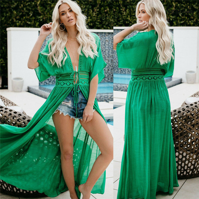 2019 Sexy Beach Dress Swimwear Women Beach Cover Up Cardigan Swimwear Bikini Cover ups Robe Plage Zaful Dress for Beach 2