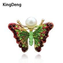 Kingdeng borboleta broches pérola feminino acessórios strass bonito presentes esmalte pinos broche lapela pino do vintage crianças jóias