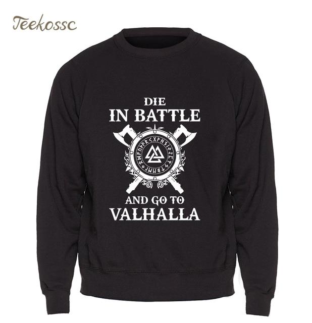 Odin Vikings Sweatshirt Men Die In Battle And Go To Valhalla Hoodie Crewneck Sweatshirts 2018 Winter Autumn Hip Hop Streetwear 3