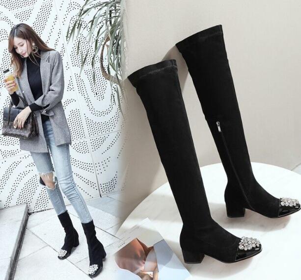 Marque de luxe femmes bottes en daim noir femmes cuissardes bottes strass med talons hiver femmes sur le genou bottes chaussures limitées
