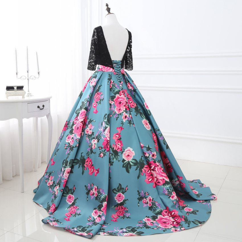 7072b2828b Aliexpress.com : Buy Gorgeous Printing Floral Ball gown Prom Dress with 3/4  Sleeves Backless Lace Up Evening Dress Party Gown Vestido de Festa from ...