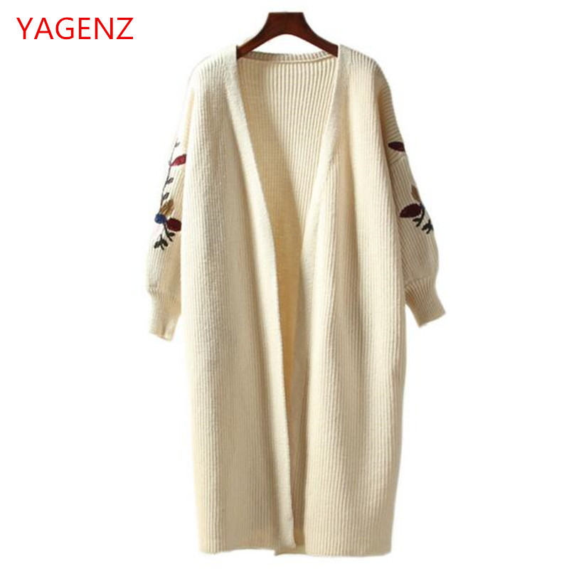 Large Dress Coat Sleeve Embroidery Utumn Yagenz Knitting Sweater Rice White Women Bn2122 Size Female Bat Cardigan Loose r1TFr