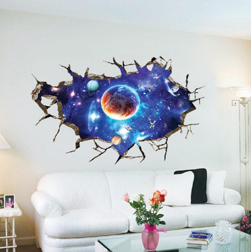 Aliexpress.com : Buy Hot Sale Creative 3D Broken Wall Outer Space Wall  Stickers Fantasy Galaxy Planet Ceiling Stickers Kids Rooms Posters WT187  From ... Part 91