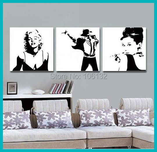 Framed 3 Panel Canvas Art Black and White Abstract Painting Marilyn ...