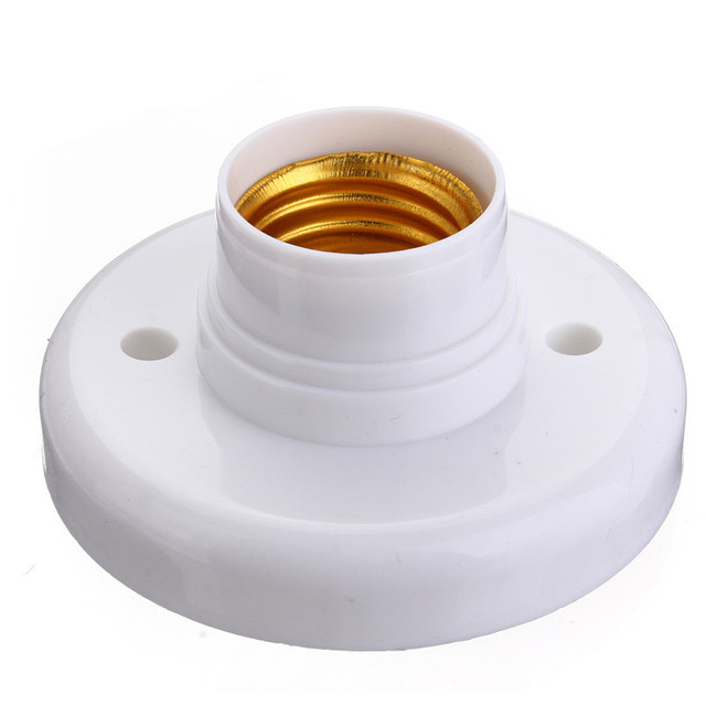 E27 Base Round Plastic Light Bulb Lamp Socket Holder Adapter Bases White