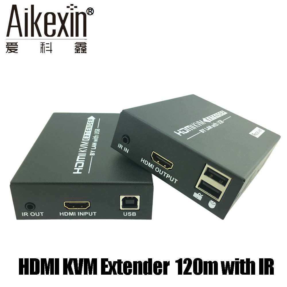 Aikexin HDMI USB Keyboard Mouse KVM Extender 120m Over TCP IP font b Network b font