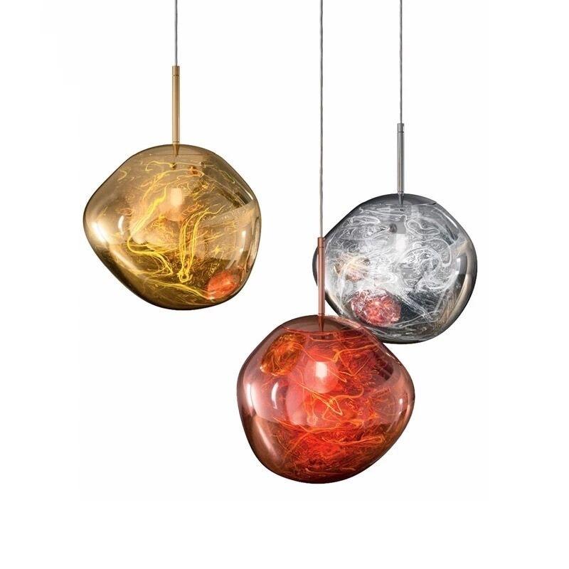 Post-modern Handmade Plated Glass Irregular Lava Pendant Light for Dining Room Bar Restaurant Living Room Dia 20/30/40cm 2169 цена