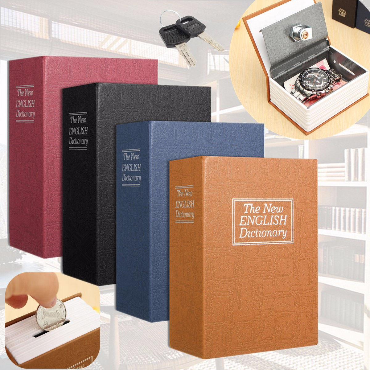 Diccionario Mini caja fuerte libro ocultar secreto de seguridad bloqueo dinero moneda almacenamiento joyería armario clave Kid regalo