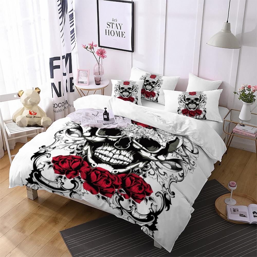 Skull Rose Comforter Bedding Sets Black Duvet Cover Set ...