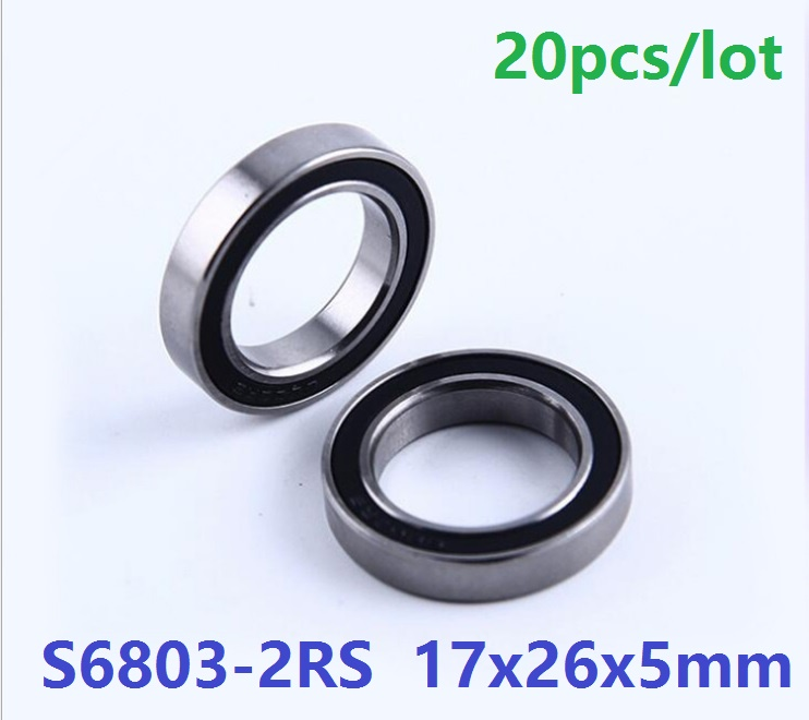 20pcs lot S6803 2RS S6803RS Stainless Steel ball bearing 17x26x5 mm Deep Groove Ball Bearing 17