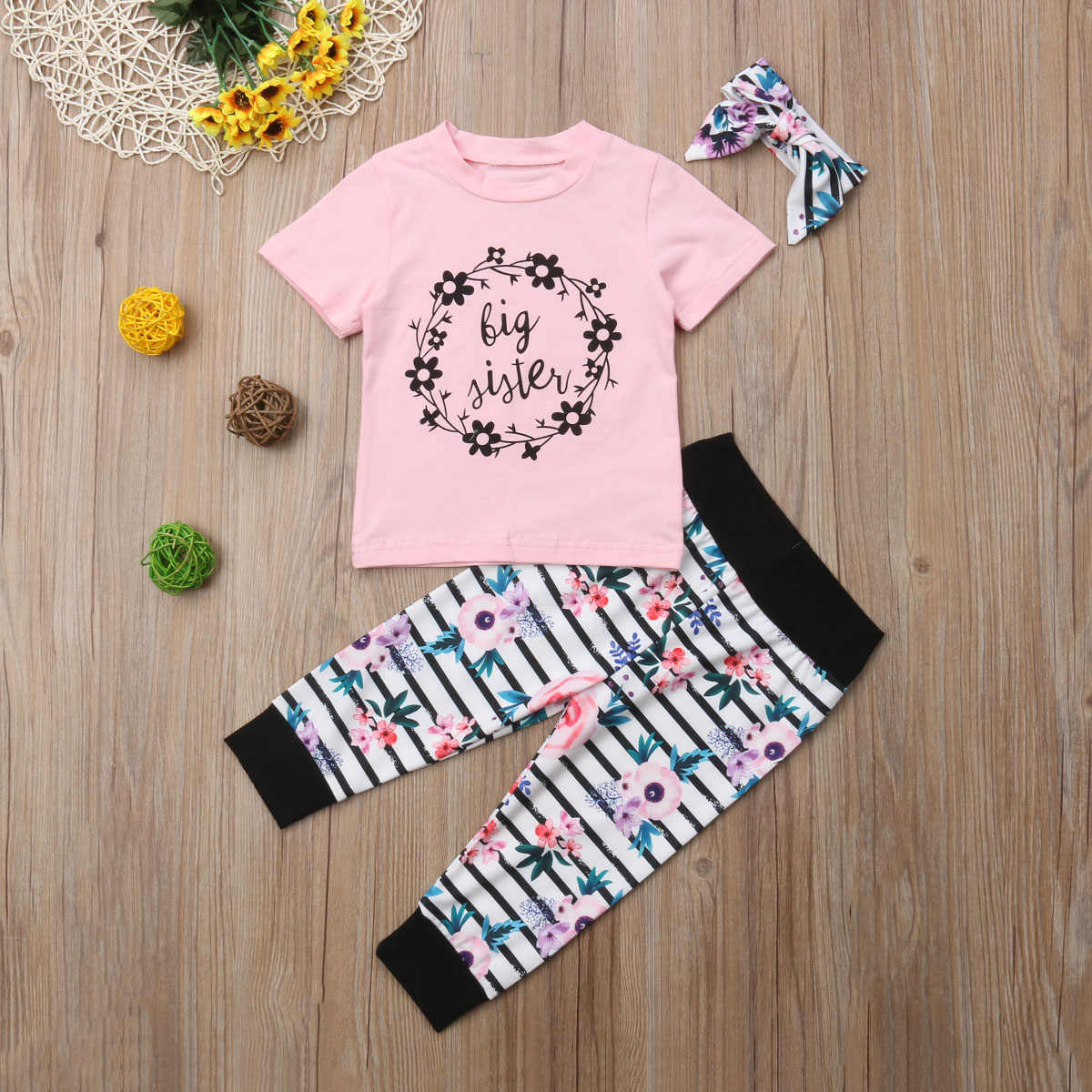 f9c989cd7669 ... Family Clothes Set Sister Newborn Baby Girls Floral Long Sleeve Romper  T-shirt Striped Floral ...