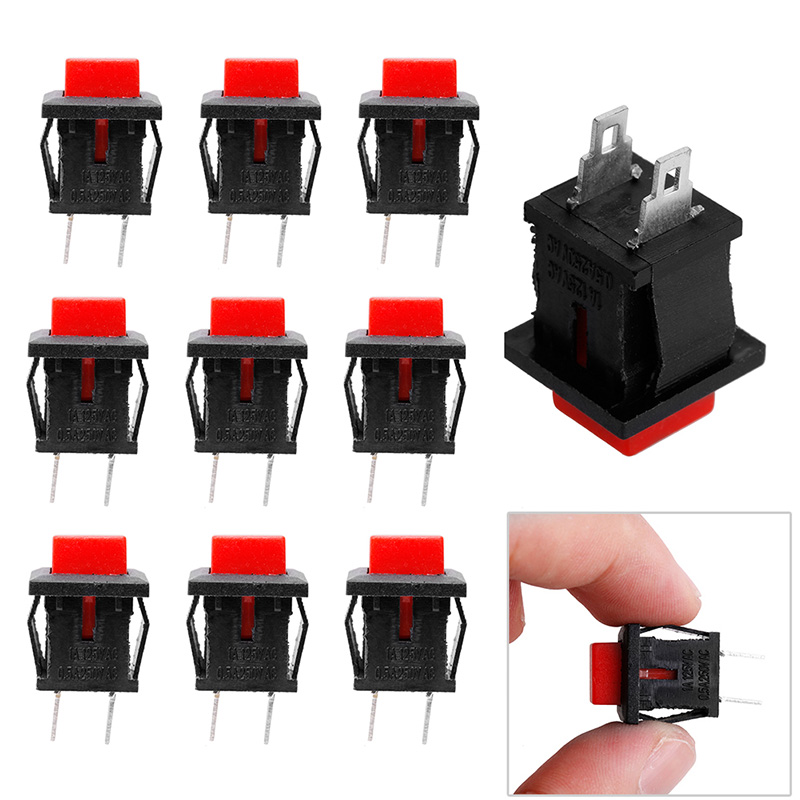 10Pcs Red Square SPST Non-Locking Reset/Self-locking Push Button Switch 125VAC 1A 50pcs lot 6x6x7mm 4pin g92 tactile tact push button micro switch direct self reset dip top copper free shipping russia