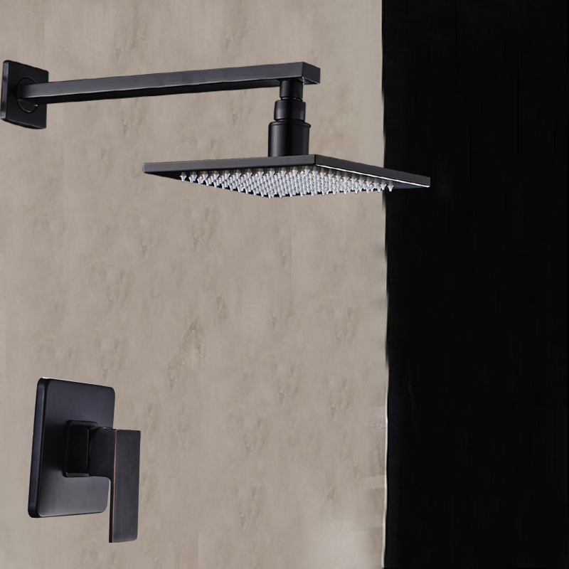 Wall Mounted Oil Rubbed Bronze Rain Shower Faucet Single Handle Mixer Tap New wall mounted adjust sliding bar rain hotel shower faucet single lever 10 rain shower head ultra thins style handshower