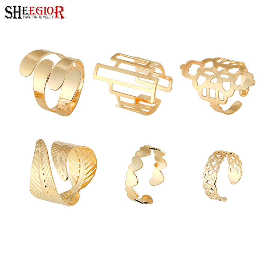 SHEEGIOR Big-Rings Jewelry-Set Gifts Gold Heart Fashion Women Love Punk for Cute Hollow