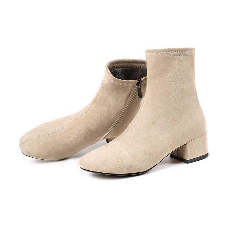 Oratee Giày Bốt Nữ Mũi Nhọn Sợi Thun Cổ Chân Giày Dày Gót Giày Cao Gót Giày Người Phụ Nữ Vớ Nữ Giày 2020 mùa Xuân