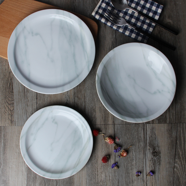 Ceramic plate with marble grain dinnerware meal tools dinner plates tray bandeja assiette pratos prato sushi placa talheres