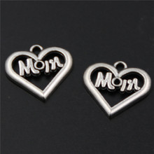 10pcs Antique silver Mom label hollow heart charm alloy pendants for earrings necklaces DIY fashion jewelery decoration A303 стоимость