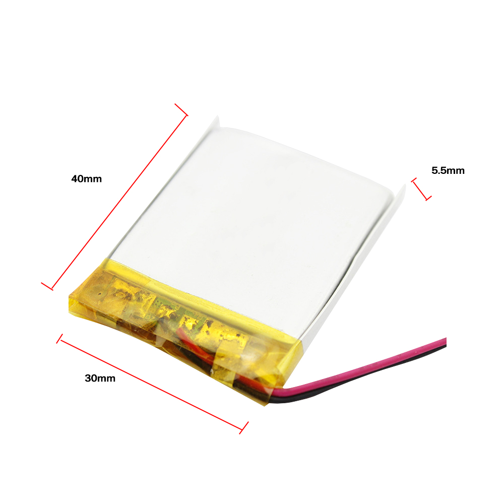 1x WAMA 553040 3.7V 600mAh Li-polymer Rechargeable Battery Over-charge Protected PCB for Bluetooth Speakers Medical Devices MP4