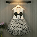 Fashion minnie T shirt + long tutu skirt 2 pcs baby girls clothing children cartoon suits new summer clothes set Free shipping