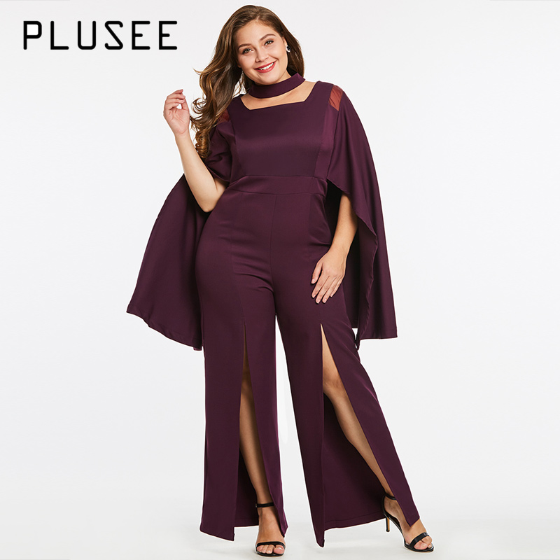 Plusee Fashion Cloak Sleeve Split Jumpsuits Hollow Out Stand Collar Maxi Jumpsuit Autumn Women Workwear Purple Big Size