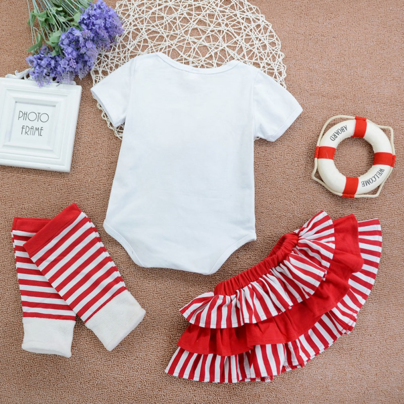 Newborn Baby Girl Clothes 0 4Y Baby Girl Striped Short Sleeve Top And Skirt And Pants Kit Kids Cotton Three piece Outfit Set in Clothing Sets from Mother Kids