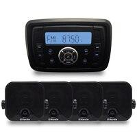 Морской компактный Bluetooth стерео мотоцикла аудио радио MP3 плеер звук Системы Лодка RV автомобиля UTV ATV SPA комната + 4 Морские Динамики