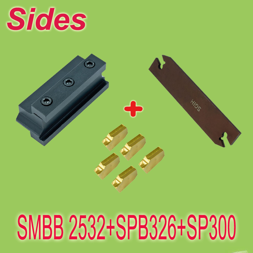 SMBB2532+SPB332+10pcs SP300 Part Off Block Indexable Parting Off Tool Stand Holder 25mm High Blade 32mm Tool Post For Lathe